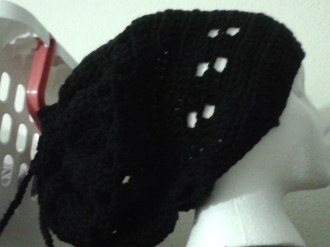 Black Slouch Beanie with String for dreads or braids